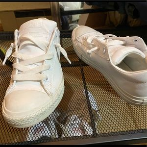 White leather Low top Converse sneakers shoes 6